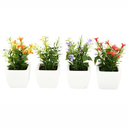 گلدان به همراه گل مصنوعی هومز طرح مینا گل سفیدمدل 30839 مجموعه 4 عددی