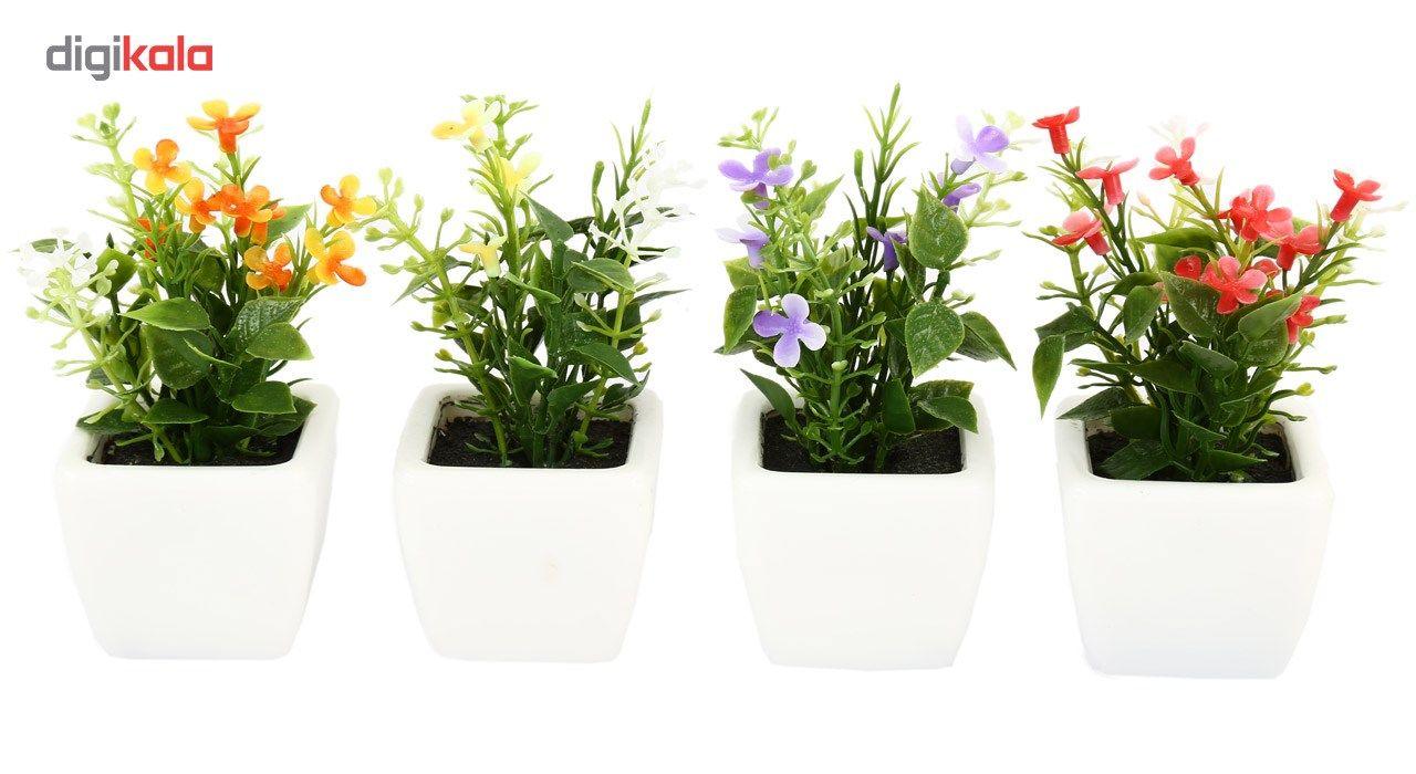 گلدان به همراه گل مصنوعی هومز طرح مینا گل سفیدمدل 30839 مجموعه 4 عددی main 1 1