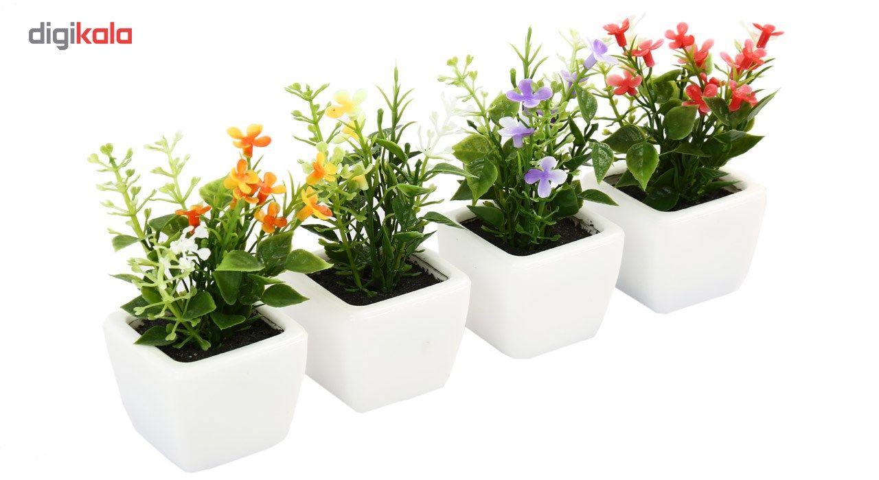 گلدان به همراه گل مصنوعی هومز طرح مینا گل سفیدمدل 30839 مجموعه 4 عددی main 1 2
