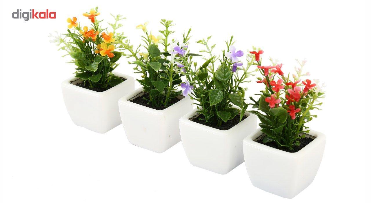 گلدان به همراه گل مصنوعی هومز طرح مینا گل سفیدمدل 30839 مجموعه 4 عددی main 1 3