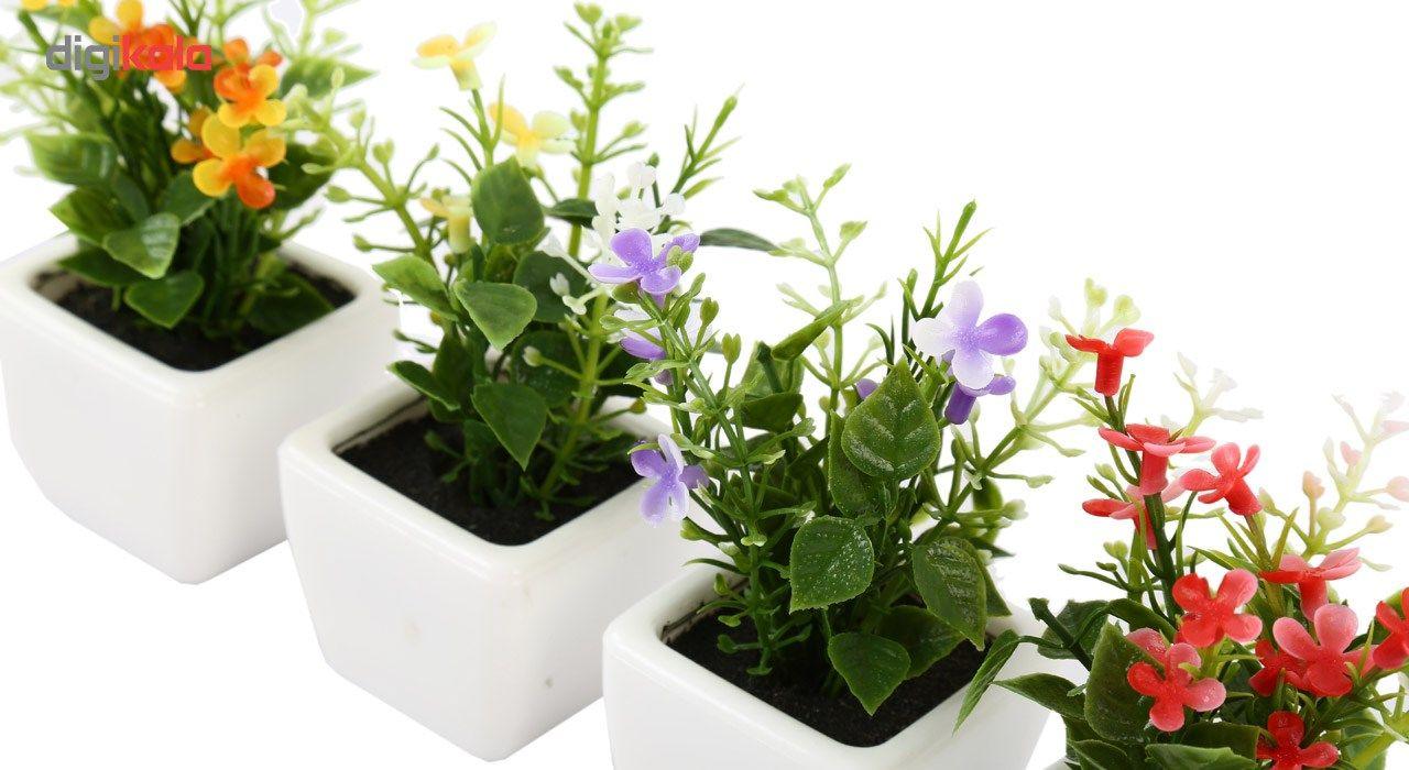 گلدان به همراه گل مصنوعی هومز طرح مینا گل سفیدمدل 30839 مجموعه 4 عددی main 1 4