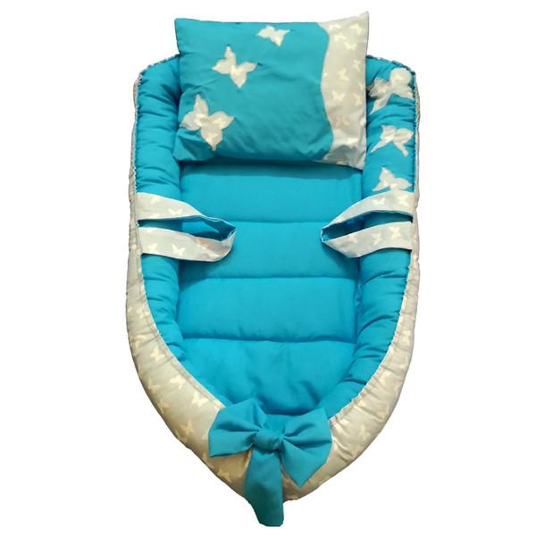 تشک لبه دار 2 تکه خواب نوزادی مدل پروانه آبی