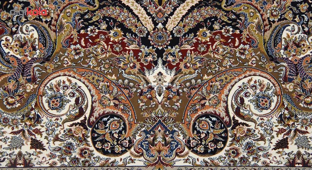 فرش ماشینی زمرد مشهد طرح 40000 زمینه سرمه ای