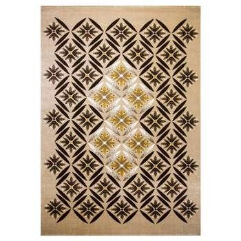 فرش ماشینی ساوین طرح رایان زمینه شکلاتی
