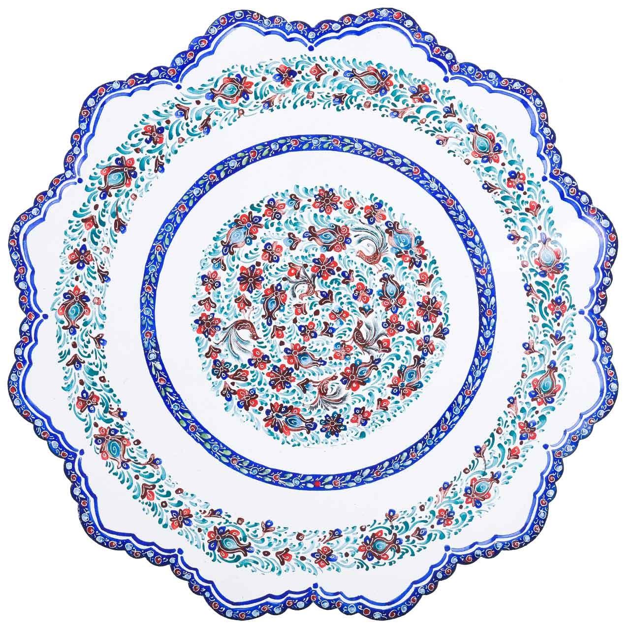 بشقاب مسی میناکاری اثر لطیفیان طرح طاووس نشان مدل 00-11 قطر 20 سانتیمتر