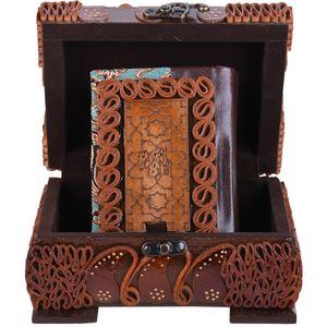 جعبه قرآنی  پایاچرم طرح چرم و ترمه مدل 01-05 سایز متوسط