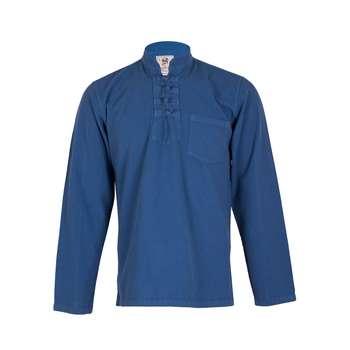 پیراهن مردانه الیاف طبیعی چترفیروزه مدل چهارگره آبی کد 2