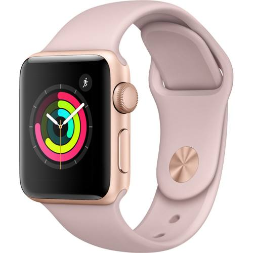 ساعت هوشمند اپل واچ 3 مدل  38mm Gold Aluminum Case with Pink Sand Sport Band