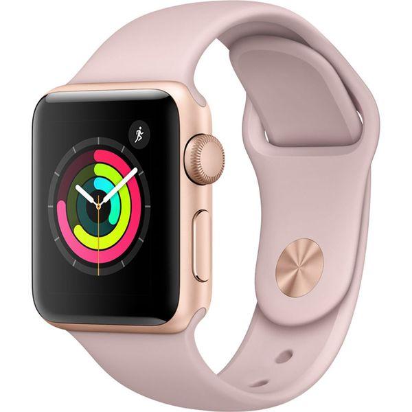 ساعت مچی هوشمند اپل واچ ۳ 38 میلیمتر طلایی با بند لاستیکی صورتی | Apple Watch 3 GPS 38mm Gold Aluminum Case With Pink Sand Sport Band
