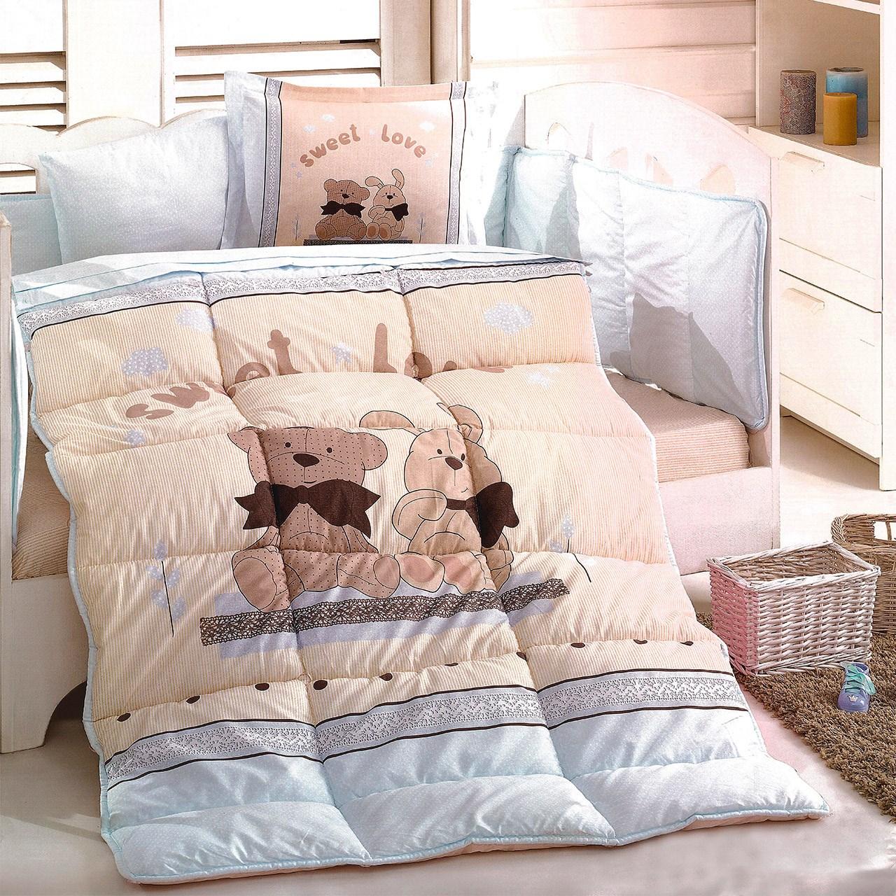سرویس لحاف 8 تکه خواب نوزاد ازدیلک سری رنفورس طرح Bear and rabbit
