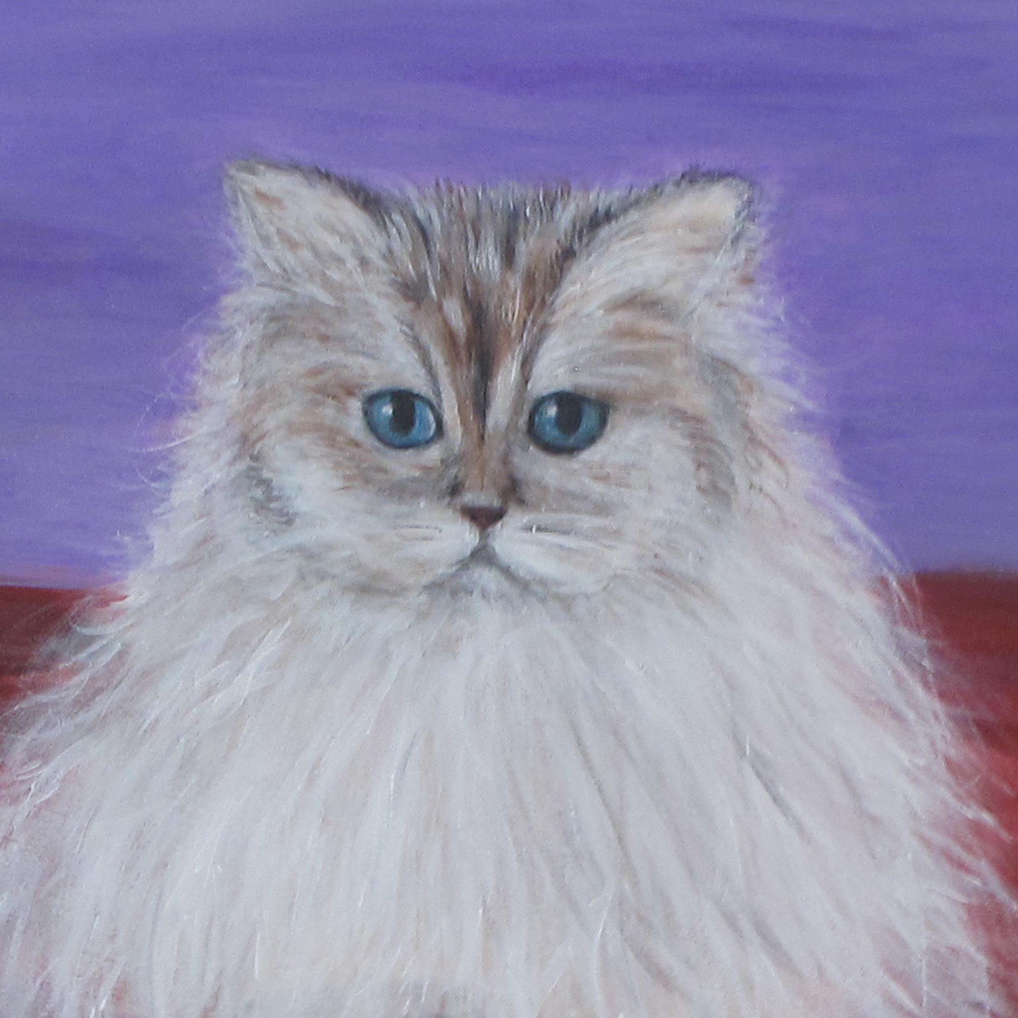 تابلو نقاشی اکریلیک طرح گربه ایرانی مدل 2007
