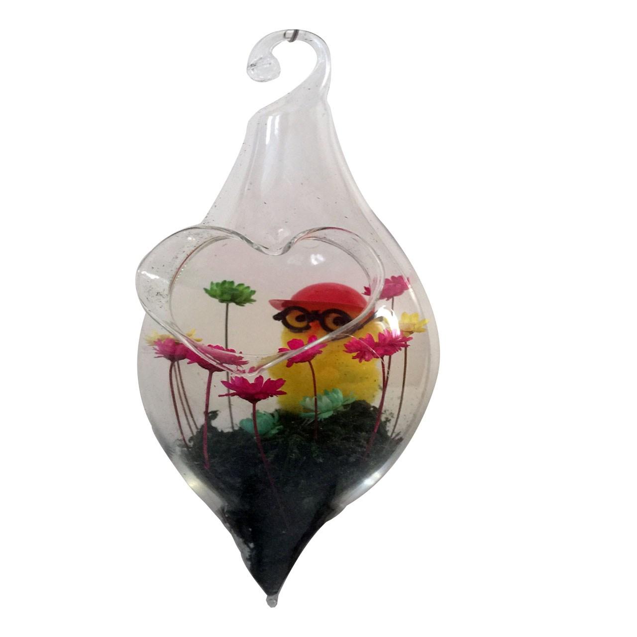 گل ماندگار به همراه گلدان شیشه ای عرش مدل B-112