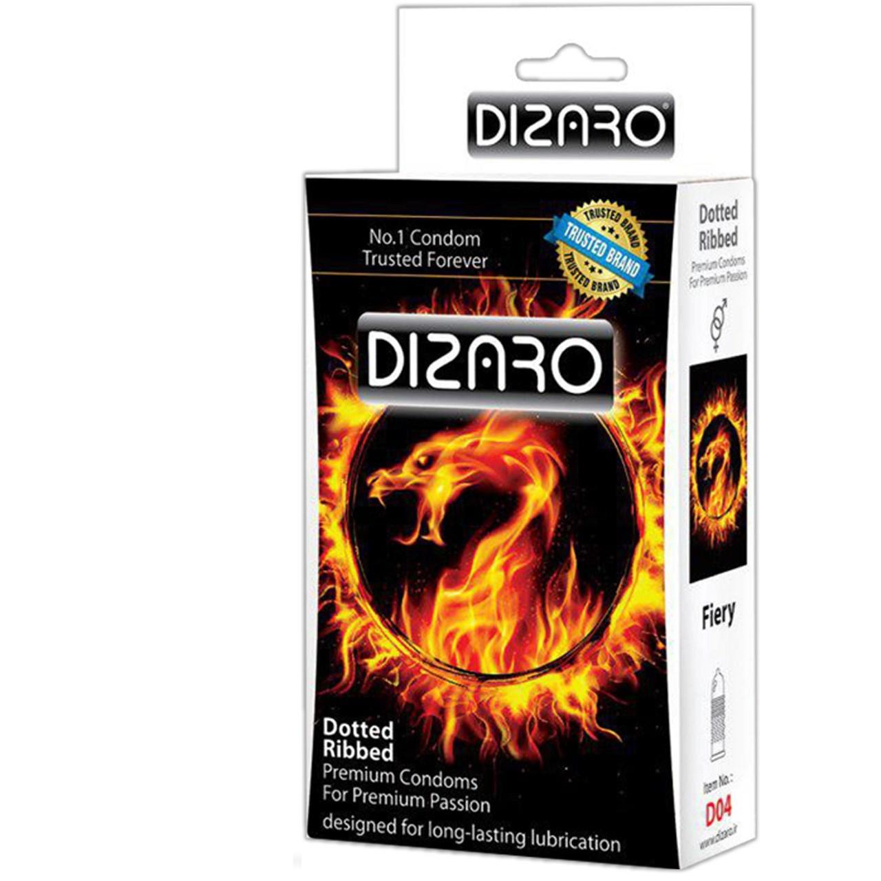 قیمت کاندوم دیزارو مدل DOTTED RIBBED FIERY کد D04 بسته 12 عددی
