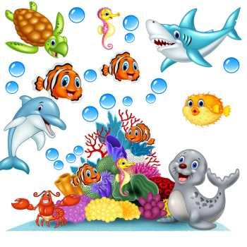استیکر دیواری  ژیوار طرح ماهی های دوست داشتنی