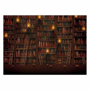 تابلو شاسی ونسونی طرح Vintage BookShelf سایز 70 × 50