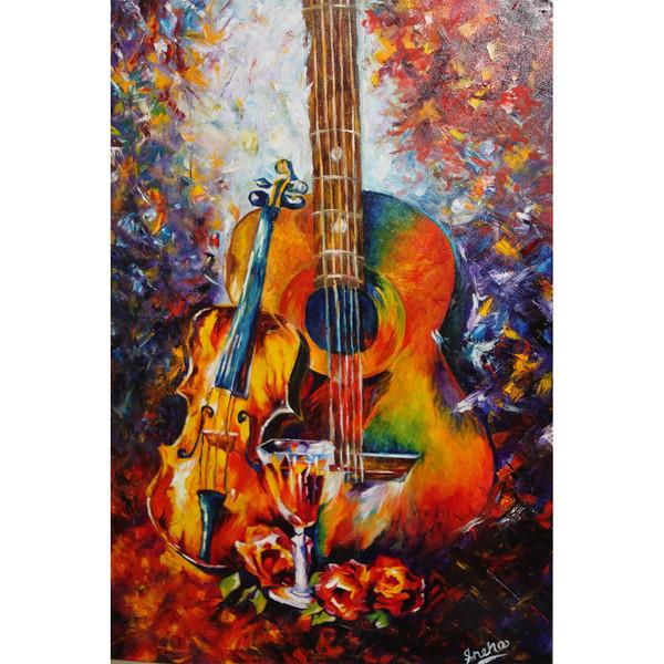 تابلو شاسی چاپ سی طرح گیتار و ویولون سایز 20x30 سانتی متر