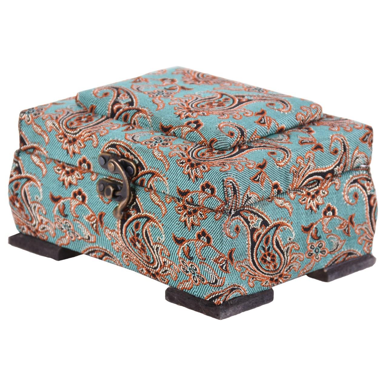 جعبه چوبی پایا چرم طرح ترمه مدل 02-01 سایز کوچک