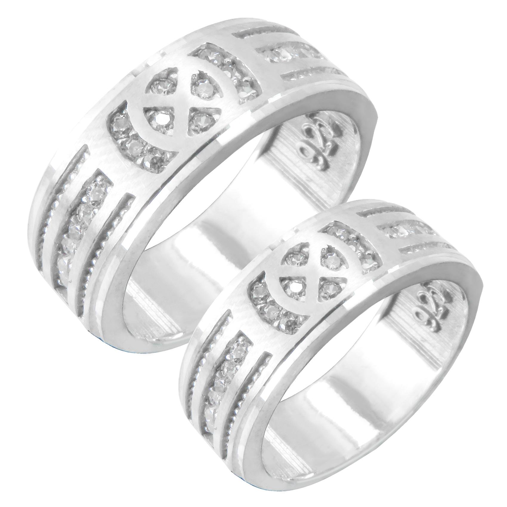ست انگشتر نقره زنانه و مردانه کد AV153