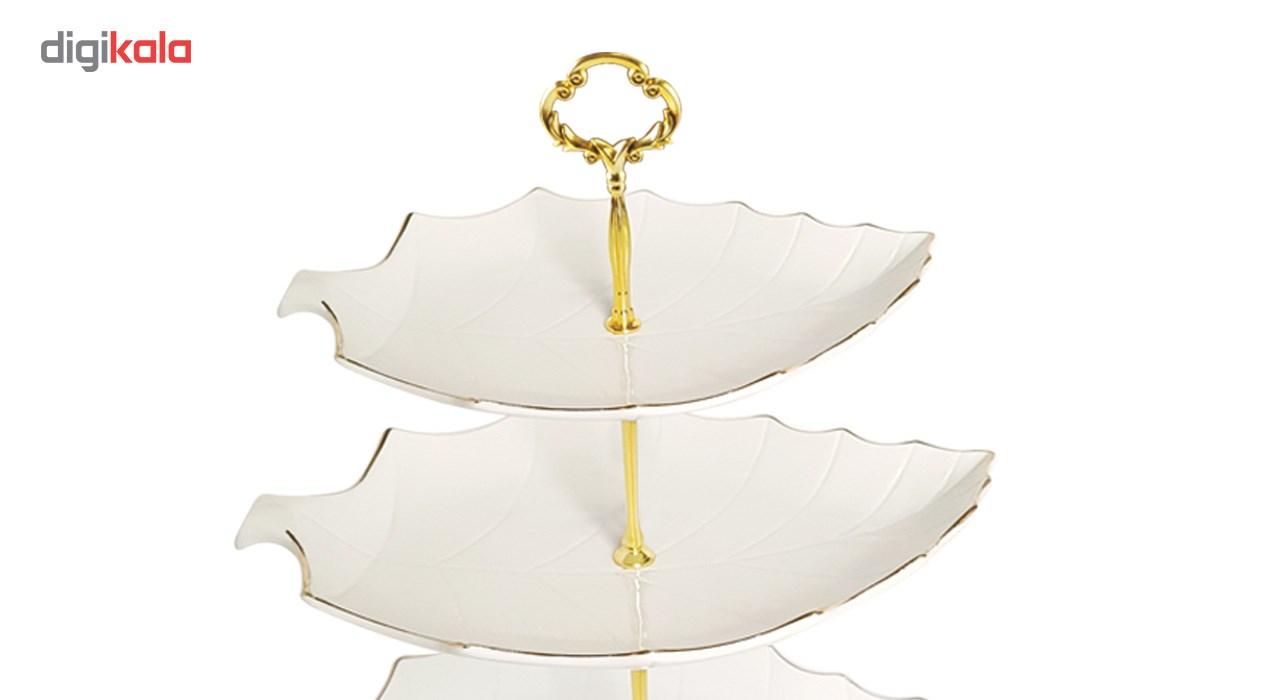 شیرینی خوری لیمون چینی مدل برگ خط طلا