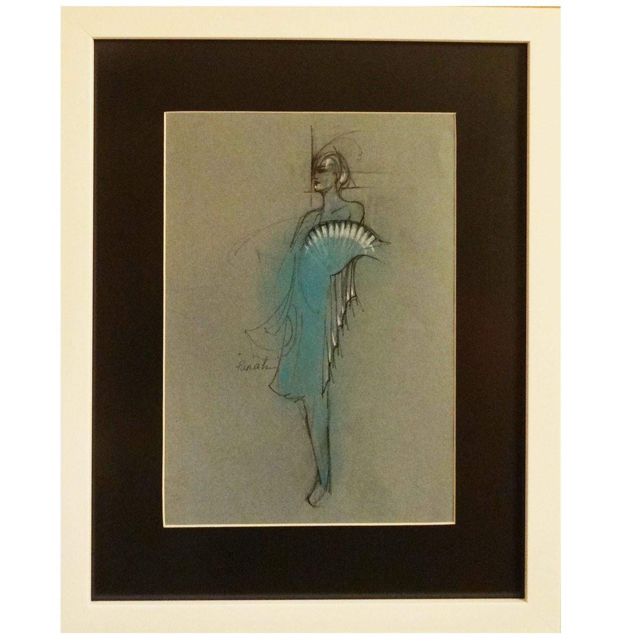 تابلو نقاشی اثر استاد خانم پناه مدل F07 طرح  زن میان آبیها