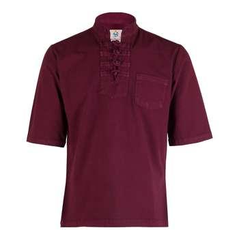 پیراهن مردانه الیاف طبیعی چترفیروزه مدل آستین کوتاه چهارگره  زرشکی کد 7