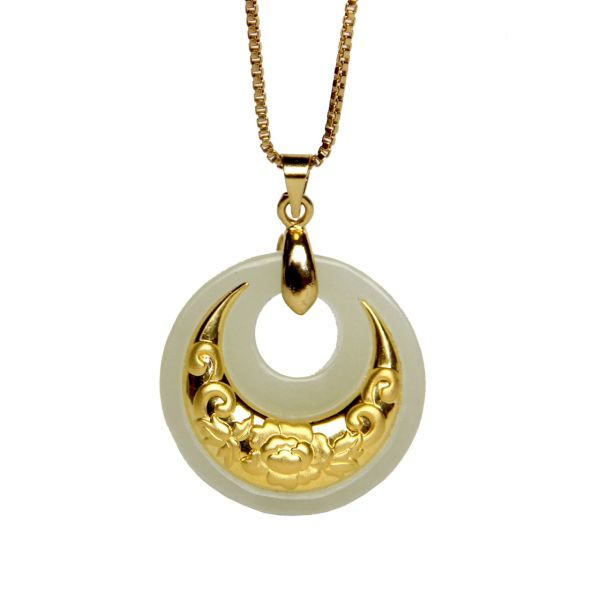 گردنبند طلا 24 عیار ماربلین طرح ماه تابان کد GJ089