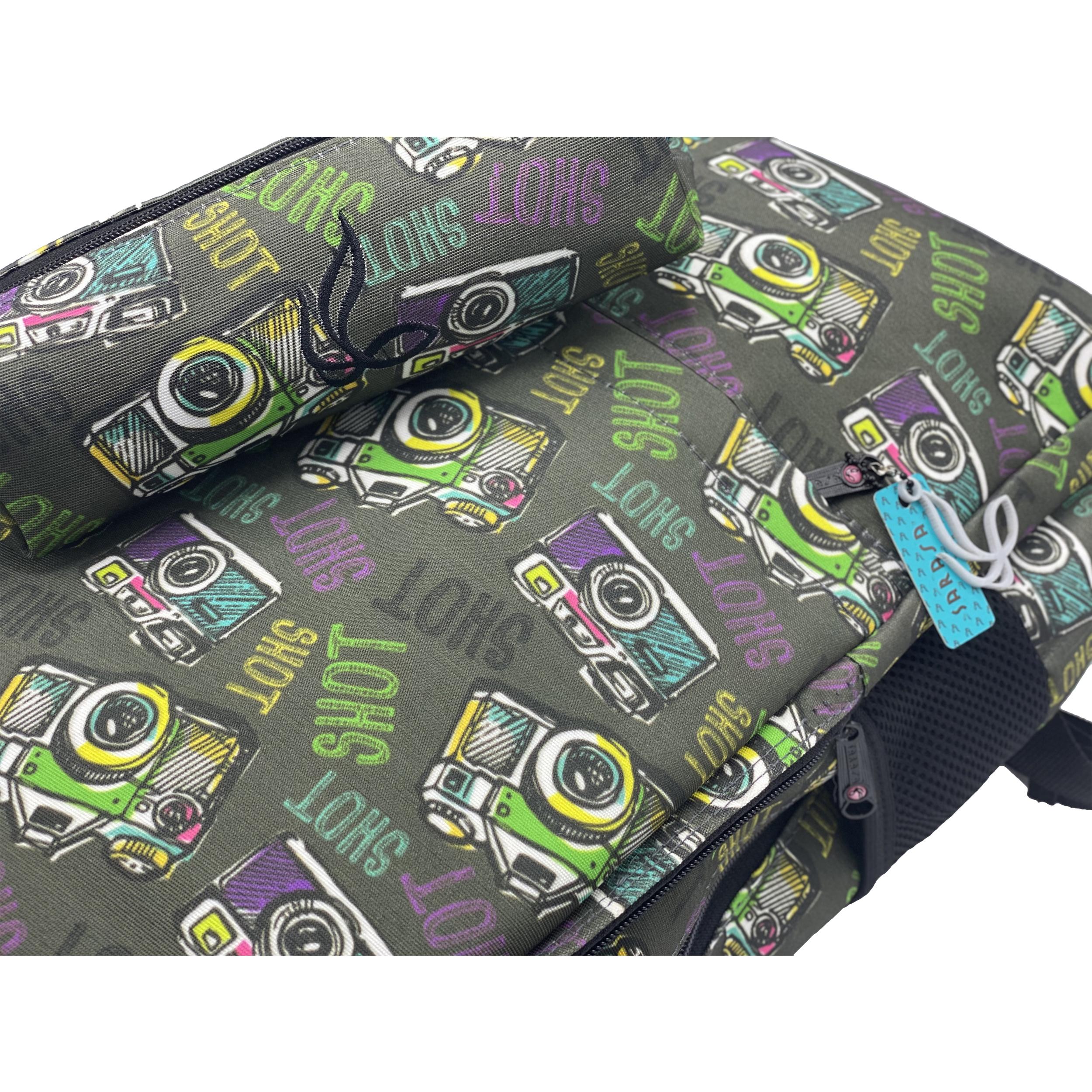 قیمت خرید کوله پشتی ساراسا طرح دوربین مدل Camera 02 به همراه جامدادی اورجینال