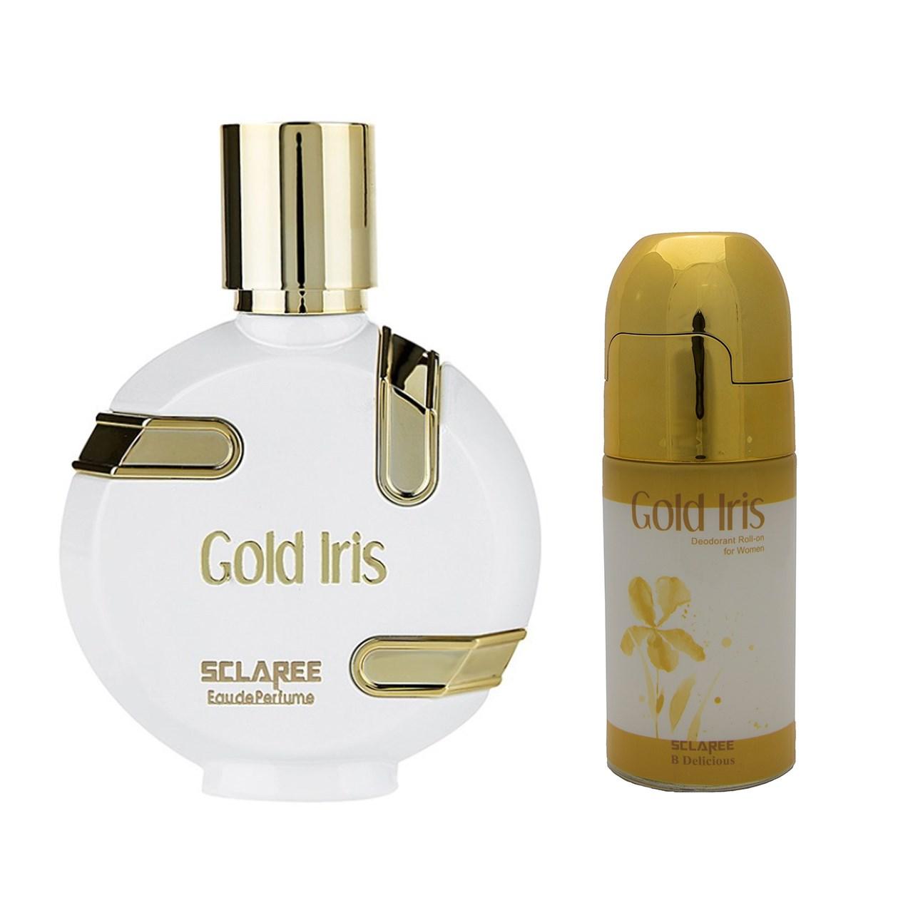 ادوپرفیوم زنانه اسکلاره مدل Gold Irisحجم100میل به همراه رول ضد تعریق زنانه اسکلاره مدل Gold Iris