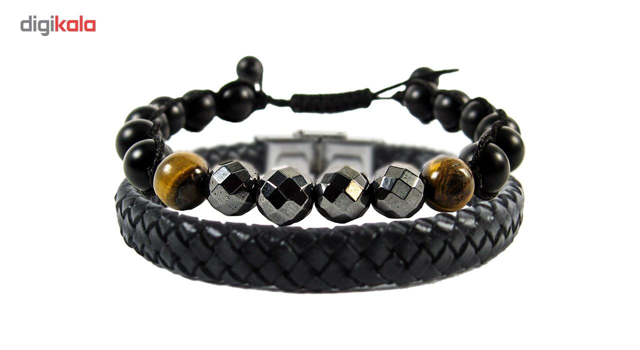 دستبند چرم و مهره ای مانچو مدل bl4017-2 بسته 2 عددی