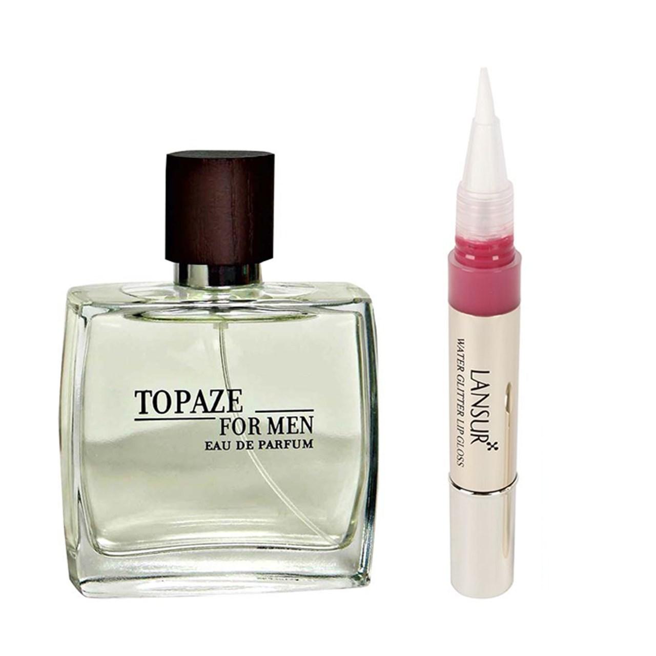 ادو پرفیوم مردانه استاویتا مدل Topaze حجم 100 میلی لیتر  به همراه  لاک لب لنسور سری My Love شماره 01