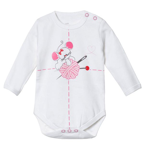 بادی آستین بلند نوزادی دخترانه پولونیکس طرح موش کد 03