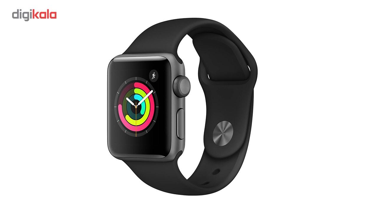 ساعت مچی هوشمند اپل واچ اسپورت 38 میلی متر بند سیلیکون مشکی | Apple Watch 38mm Space Gray Aluminum Case with Black Sport Band
