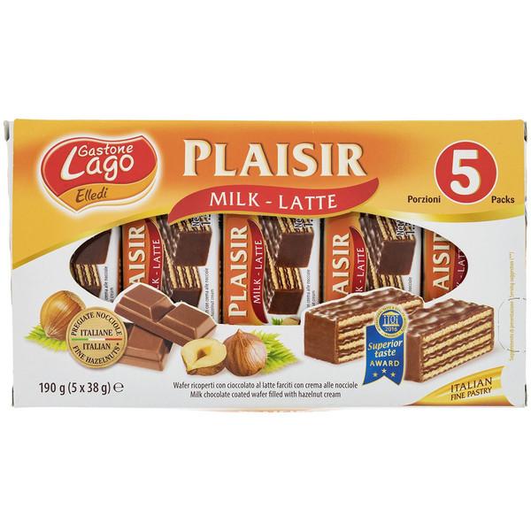ویفر شکلات شیری لاگو با کرم فندق مقدار 38 گرم بسته 5 عددی