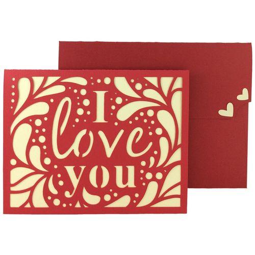 کارت دست ساز هدهد طرح I Love You کد V1818