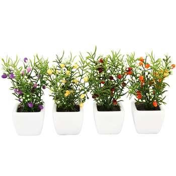 گلدان به همراه گل مصنوعی هومز طرح فلفل مدل 30868 مجموعه 4 عددی