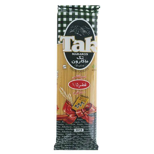 اسپاگتی قطر 1.5 حاوی ویتامین تک ماکارون مقدار 500 گرمی
