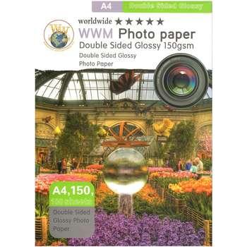 کاغذ عکس ورلدواید مدل Double Side Glossy سایز A4 بسته 100 عددی