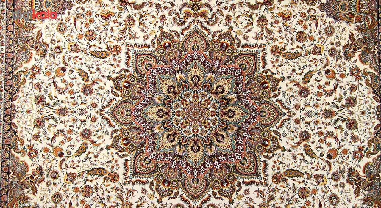فرش ماشینی زمرد مشهد طرح 36000 زمینه کرم