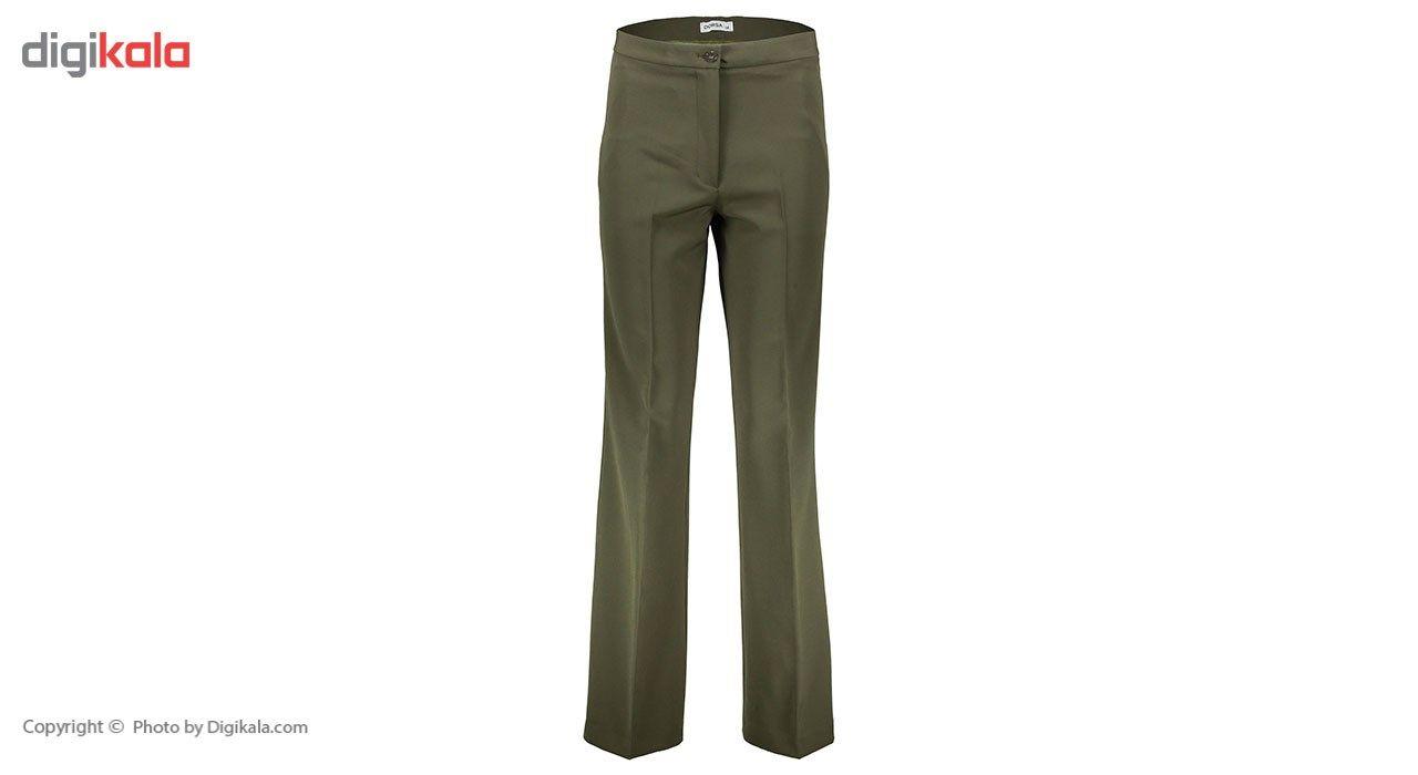 شلوار زنانه دمپا گشاد پارچه ای سبز مدل 198 -  - 2