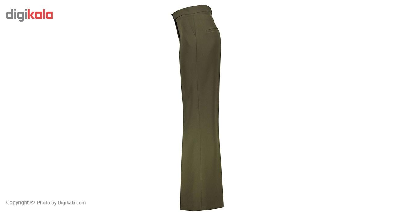 شلوار زنانه دمپا گشاد پارچه ای سبز مدل 198 -  - 3