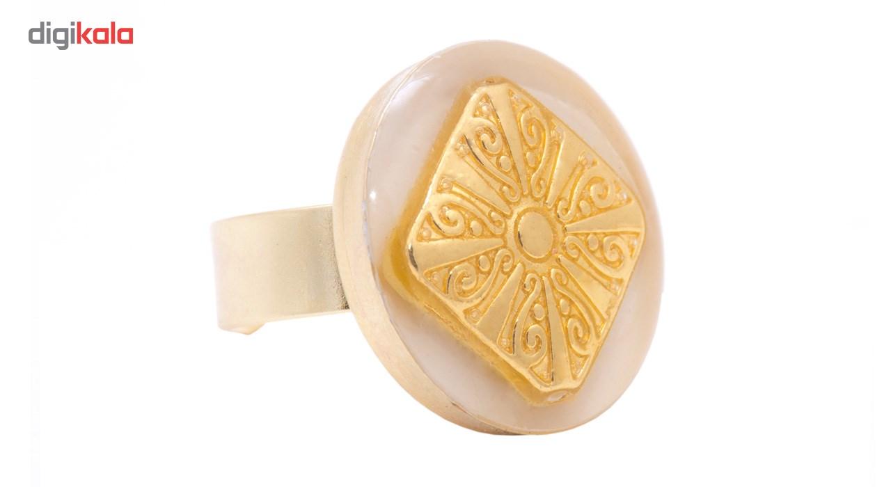 انگشتر باربد طرح آبکار طرح طلا لوزی کد P78