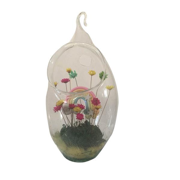 گل ماندگار به همراه گلدان شیشه ای عرش مدل B-109
