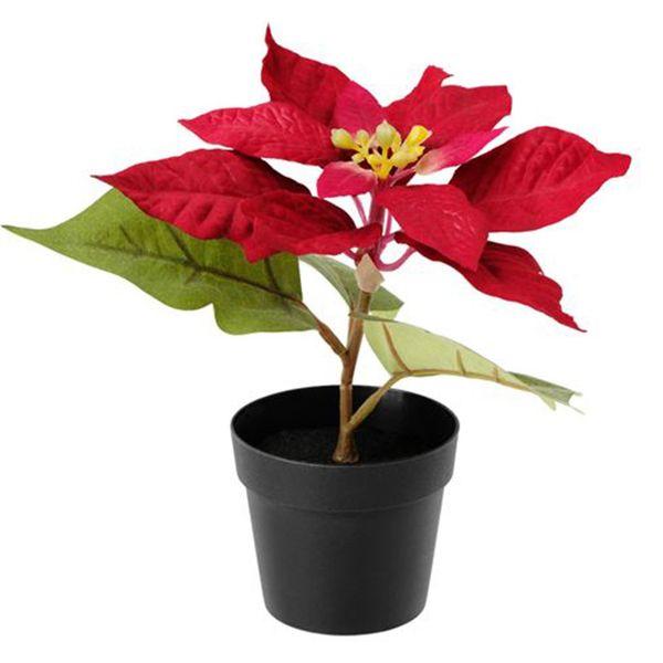 گلدان به همراه گل مصنوعی ایکیا مدل Red Fejka
