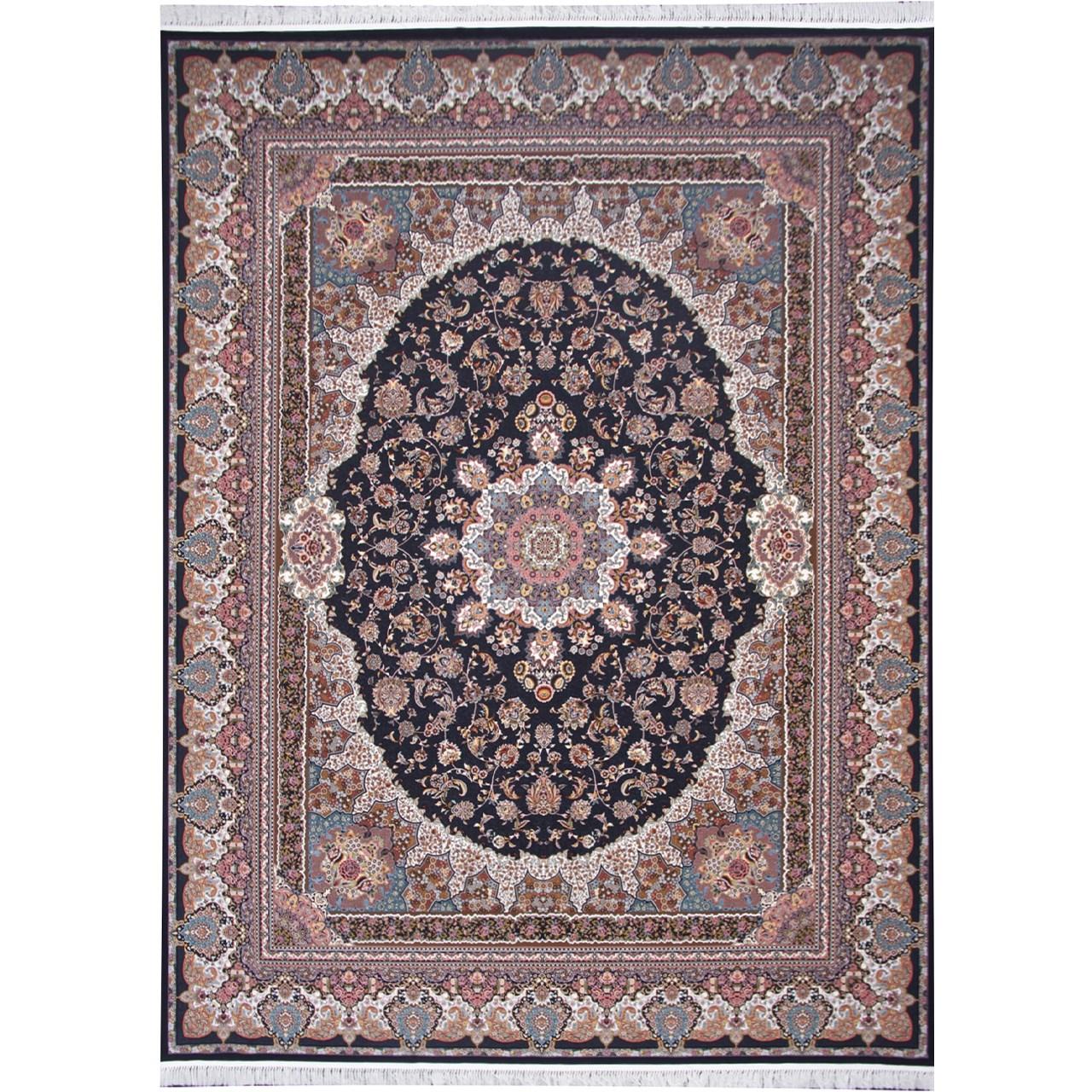 فرش ماشینی زمرد مشهد طرح 36006 زمینه سرمه ای