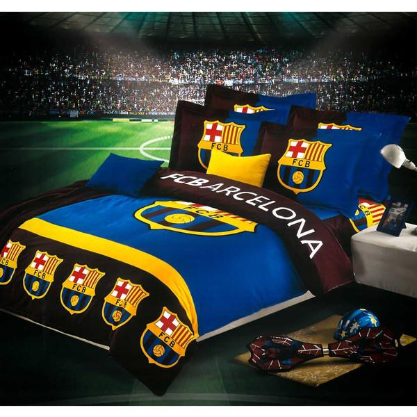 سرویس لحاف روتختی کالای خواب متین مدل FC Barcelona یکنفره 4تکه