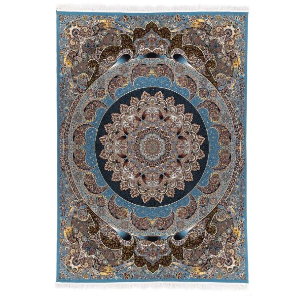 فرش ماشینی آدینا طرح راش زمینه آبی