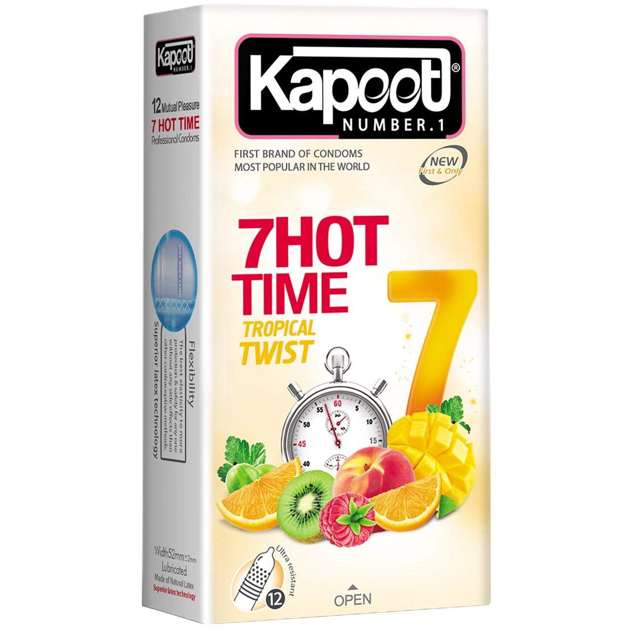 عکس کاندوم کاپوت مدل 7Hot Time  بسته 12 عددی
