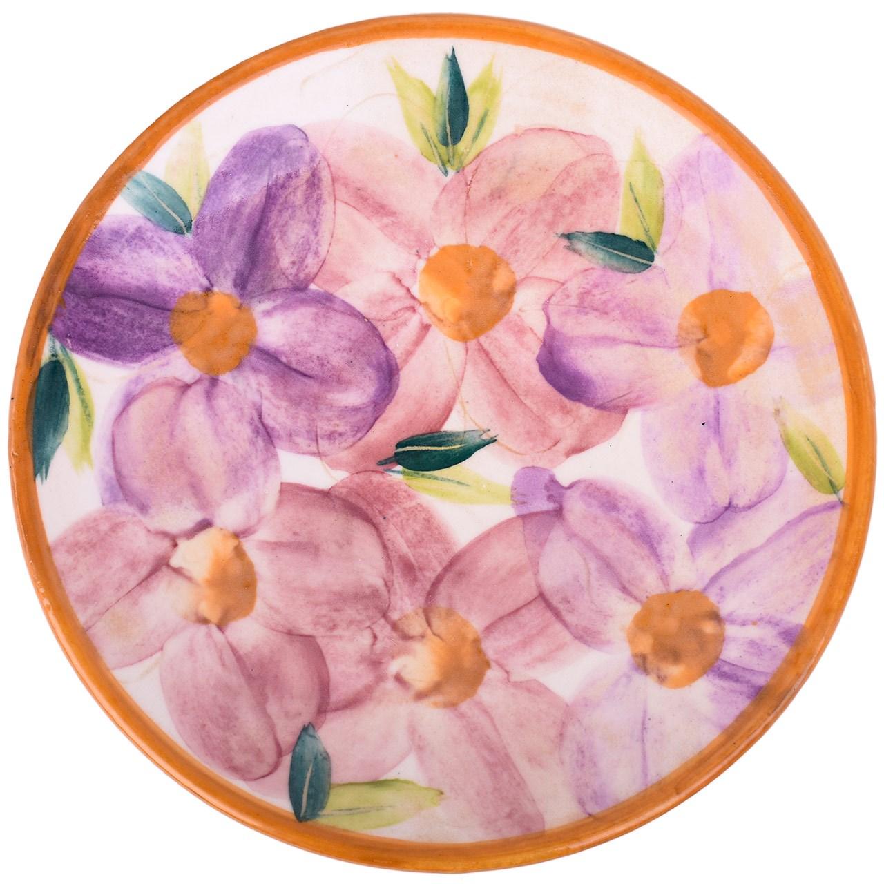 بشقاب سفالی ملکه خورشید طرح گل های روشن مدل 00-01 قطر 25 سانتی متر