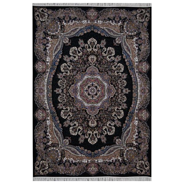 فرش ماشینی فرش هدیه طرح ارغوان زمینه سورمه ای