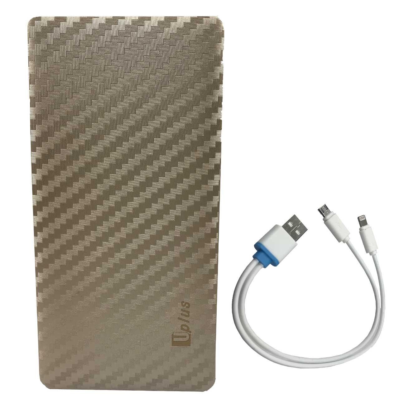 شارژر همراه یو پلاس مدل UP-PB806 با ظرفیت 6000 میلی آمپر  به همراه کابل لایتنینگ و micro usb